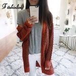 Plaid Long Cardigan Slim Buttons Up Orange Knitted Boho Jacket