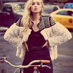 beading long sleeve parka fur Faux Fur boho Coat
