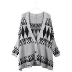 Sweater Cardigans Loose Plaid Knitted Boho Jacket