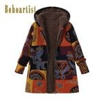 Cotton  Thick Casual Loose Ethnic Fashion Hooded Boho Coats