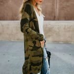 Leopard Camouflage Cardigan Long Sleeve Long Boho Coat