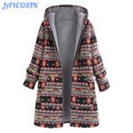 Vintage Long Sleeve  Warm Thick Hooded Boho Coat