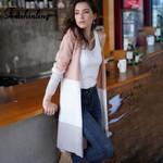Slim Knitted Long Sleeve  Patchwork Long Cardigan Boho Coat