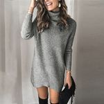 Fashion Scarf Collar Long Sleeve Knitted Boho Sweater