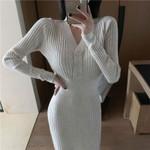 Knitted High Waist Sexy Slim V Neck Long Sleeve Boho Sweater