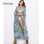 Floral Print Long Sleeve Tunic  Cardigan Boho Kimono