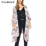 Chiffon Loose Shawl Floral Print Cardigan Boho Kimono