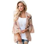 Floral Print Bell Sleeve Hollow Out Lace Patchwork Boho Kimono