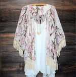 Floral Lace Tassels Cover Up Boho Kimono