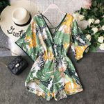 V Neck Backless Sexy Chiffon Tunic Floral Boho  Rompers