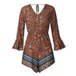 Lace Up Printing Long Sleeve V-Neck  Casual Boho Rompers