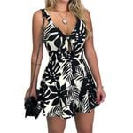 Fashion  Cut Out Tie Front Floral Printed Strap Boho Romper