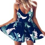 Strapless Casual  Floral Print Wide Legs Boho Rompers