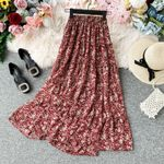 Vintage Floral Pleated Chiffon High Elastic Waist boho Skirts