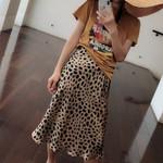 punk style leopard print high waist boho skirts