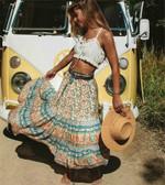 Vintage floral printed  High Elastic Waist Bohemian skirt