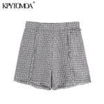 Vintage Stylish Pockets Frayed Trim Tweed Boho Shorts