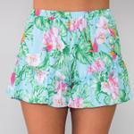 Floral Print Mid Waist Loose Ruffles Boho Shorts