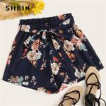 High Waist Elastic Waist Waist Floral Print Belted Boho Shorts