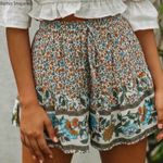 chic wide-leg high shorts floral print Bohemian Shorts