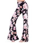 Fashion Casual Floral Print Bell Bottom Elastic Waist Boho Pants