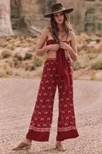 Stretch Waist Casual  Fashion Retro Floral Print Boho Pants