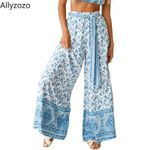 Patchwork Print Loose Trousers  High Waist Boho Pants