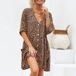 Leopard Button Short Sleeve V-Neck Loose Casual Dress