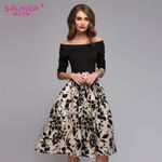 Floral Printed Patchwork Off Shoulder Sexy Casual Dresses
