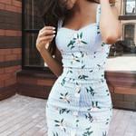 Slim Sleeveless Floral Stripe Bandage Square Neck Casual Dress