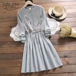 Long Sleeve striped Floral O-Neck  Vintage Casual Dress