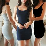 Fashion Sexy Backless Sleeveless Slim Bodycon Dress