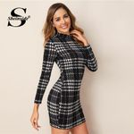 Elegant Plaid Print Stand Collar Long Sleeve Bodycon Dresses