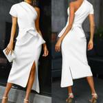 Lace Up One Shoulder Elegant Bodycon Dress
