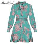 Fashion -Print Lace-Up Floral Dresses