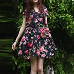 Short Sleeve V Neck Cotton Linen Loose elegant Floral Dress