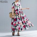 Short Sleeve Cotton Linen Vintage Floral Dress