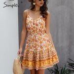 Spaghetti strap A-line high waist V-neck floral dress