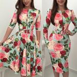 Long Sleeve Zipper Up Tie Belt Floral Dress