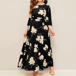 Ruffle Long Sleeve Tunic Long Floral Dresses