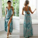 Sleeveless Backless Floral Chiffon Long Boho Dress