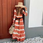Casual Stripe V-neck Long Sleeve Loose Fashion Boho Dress
