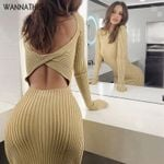 Sexy Ribbed Knitted Backless Long Sleeve Dress