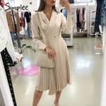 Elegant pleated office breasted blazer long sleeve dress