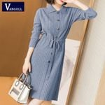 Turn-down Collar Button Knitted Long Sleeve Dress