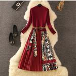 Elegant Knitted Pleated Fashion Long Sleeve Dress