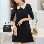 Peter-pan Collar Frock Slim Long Sleeve Dress