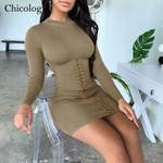 sexy Bandage long sleeve dress