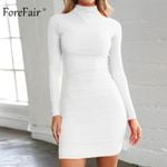 Sexy Bodycon Turtleneck High Neck Short Long Sleeve Dress