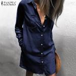 Fashion Denim Buttons Down Short Sexy Mini Dress